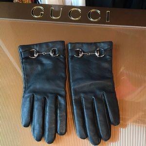 Accessories - Classic Horsebit Leather Black Gloves